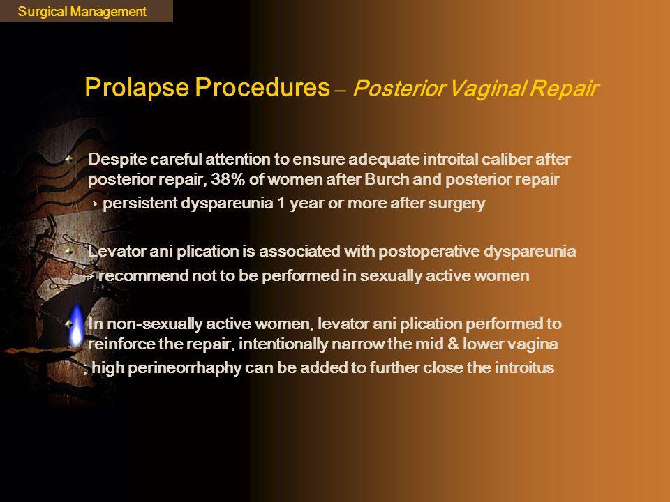Prolapse Procedures – Posterior Vaginal Repair