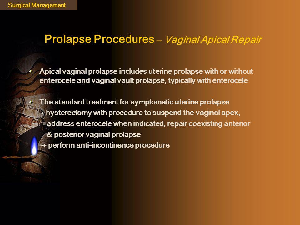 Prolapse Procedures – Vaginal Apical Repair