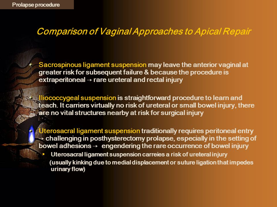 Comparison of Vaginal Approaches to Apical Repair