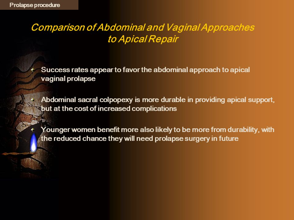 Comparison of Abdominal and Vaginal Approaches to Apical Repair