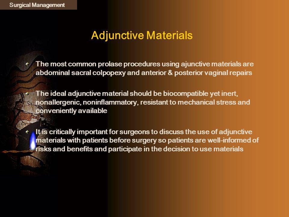 Surgical Management Adjunctive Materials.
