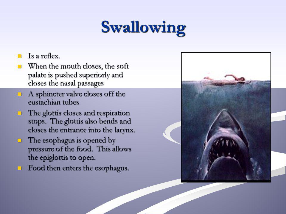 Swallowing Is a reflex. When the mouth closes, the soft palate is pushed superiorly and closes the nasal passages.