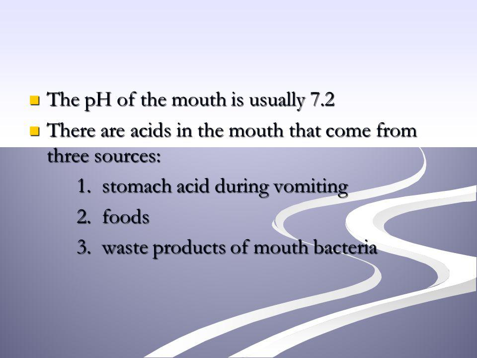 The pH of the mouth is usually 7.2