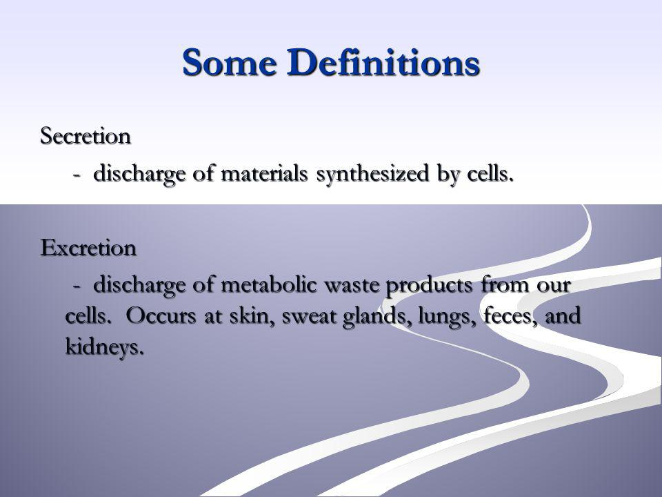 Some Definitions Secretion