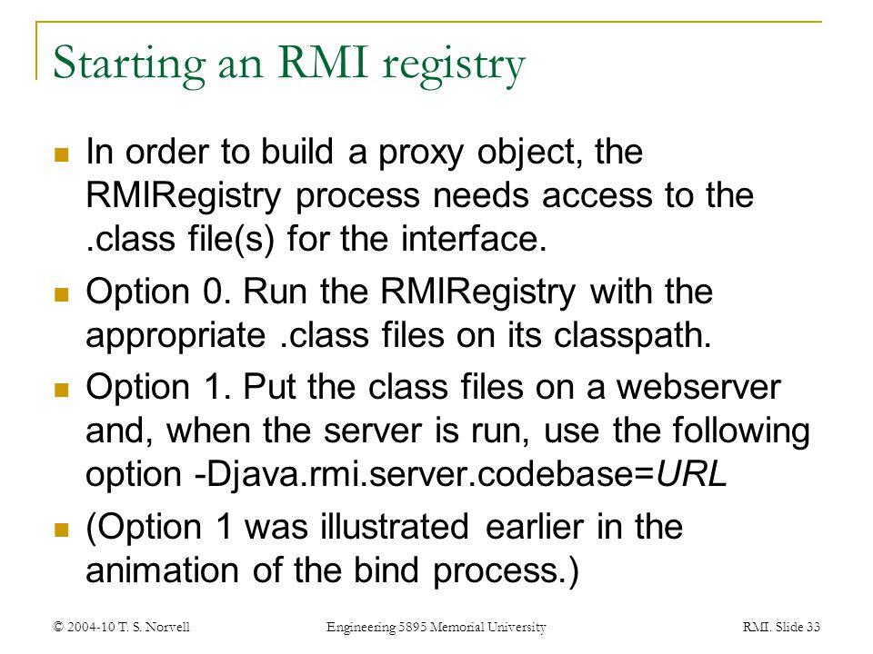 Starting an RMI registry