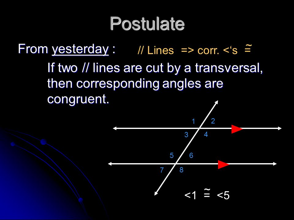 Postulate From yesterday :