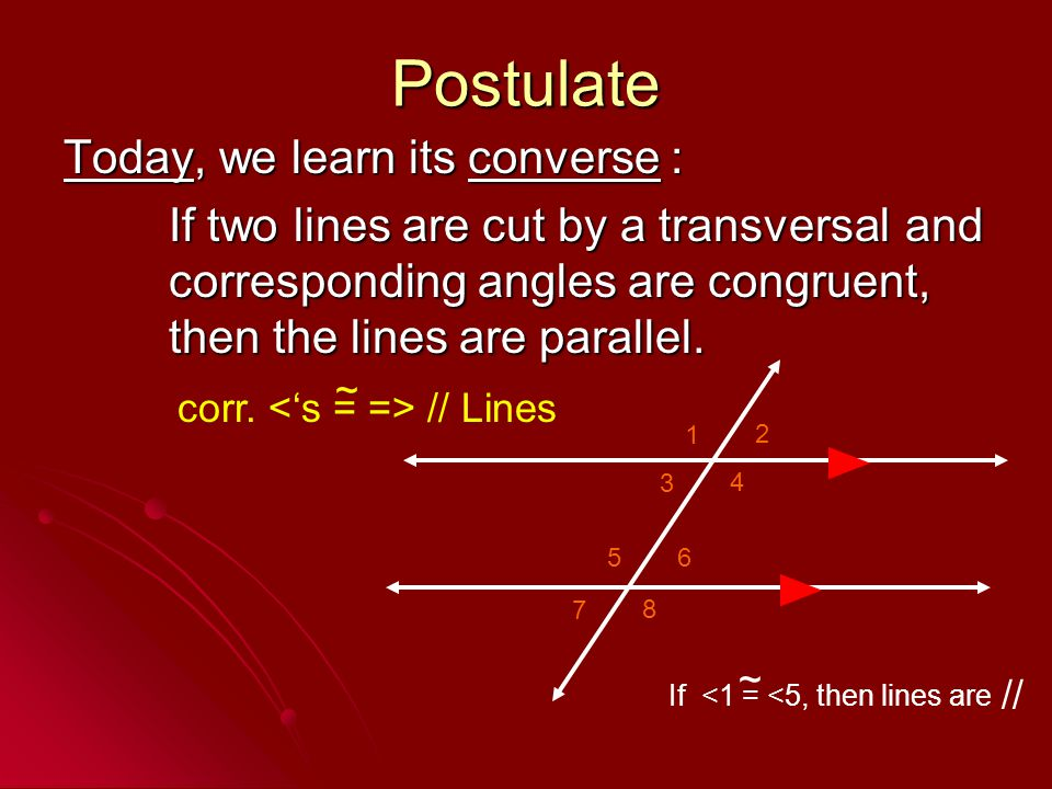 Postulate Today, we learn its converse :