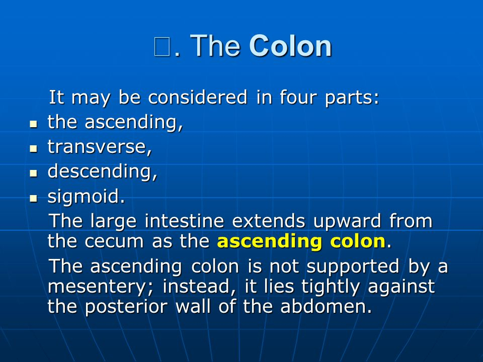 Ⅲ. The Colon It may be considered in four parts: the ascending,