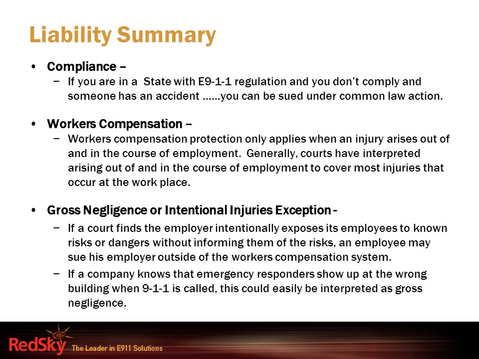 Liability Summary Compliance – Workers Compensation –