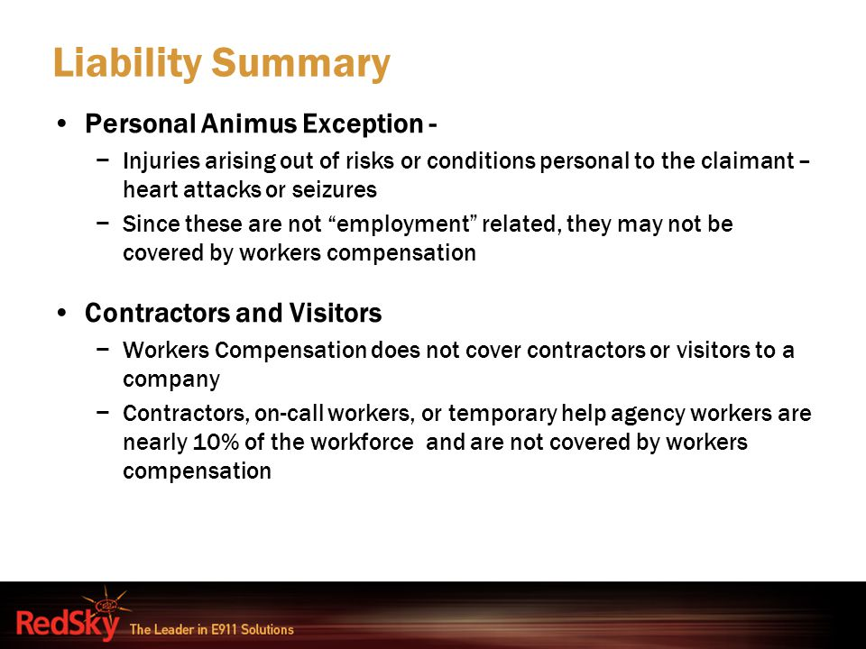 Liability Summary Personal Animus Exception - Contractors and Visitors