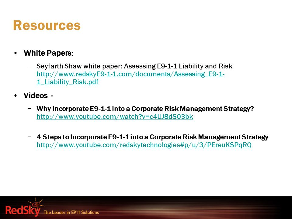 Resources White Papers: Videos -