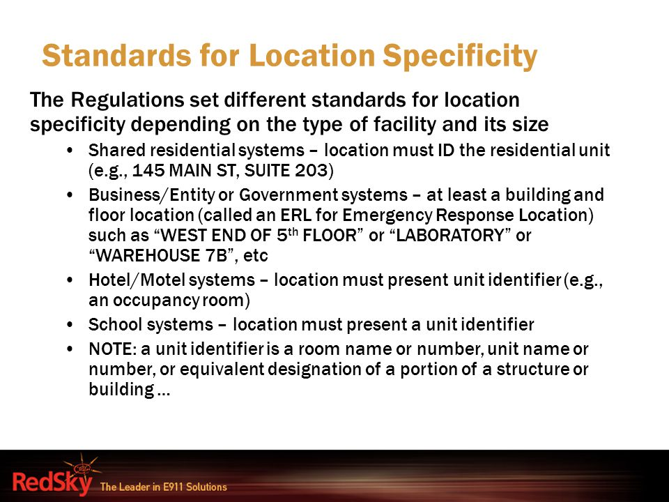Standards for Location Specificity