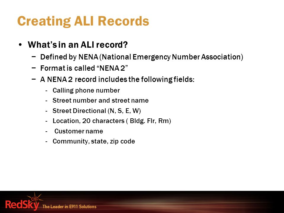 Creating ALI Records What's in an ALI record