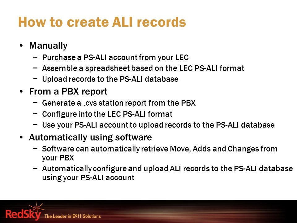 How to create ALI records