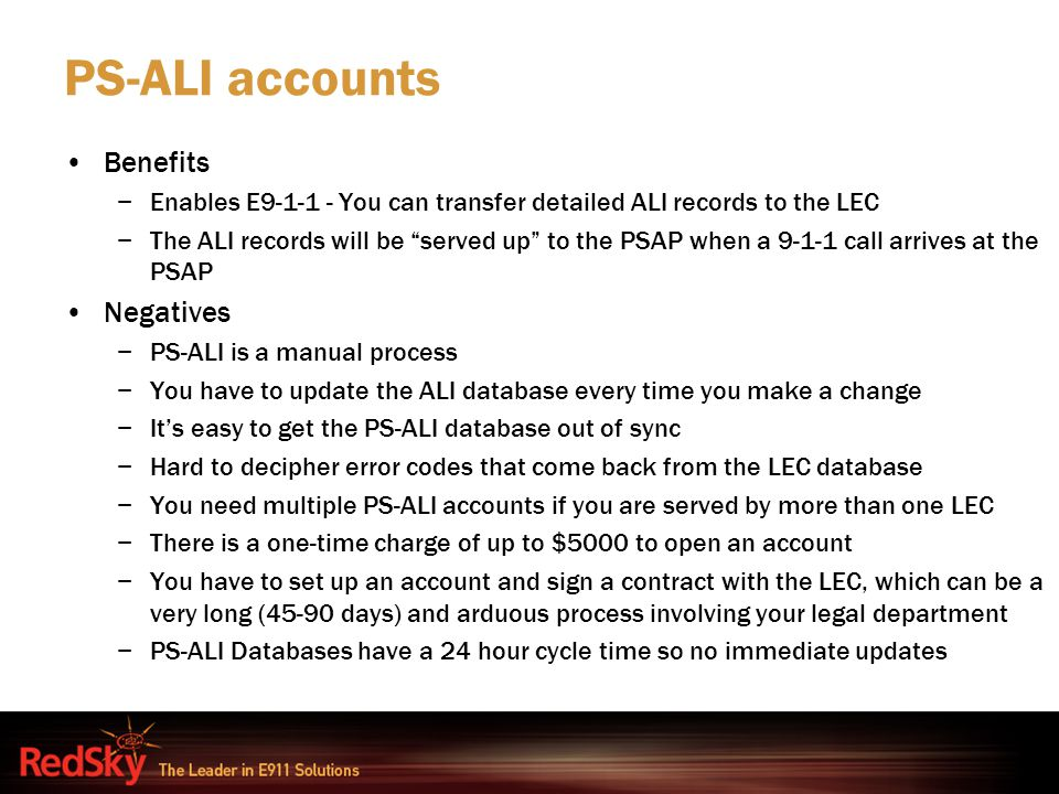 PS-ALI accounts Benefits Negatives