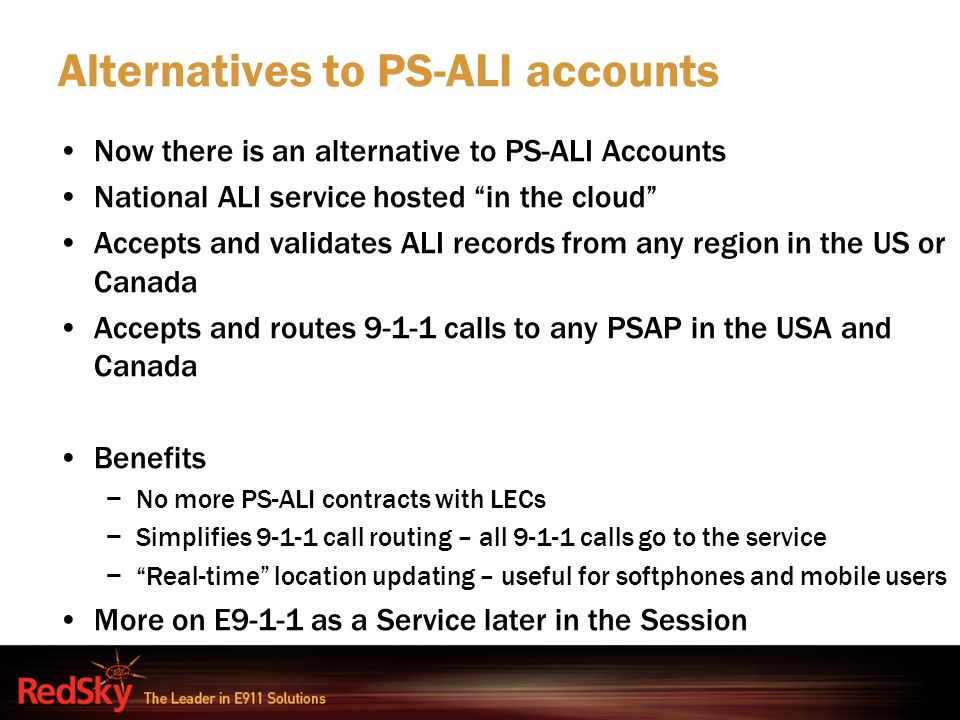 Alternatives to PS-ALI accounts