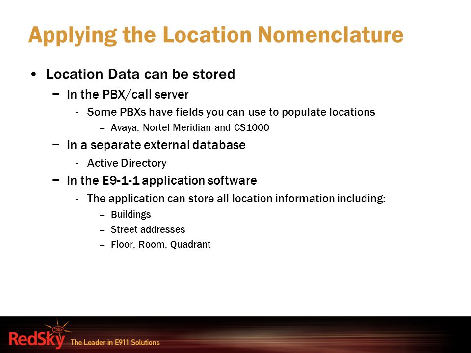 Applying the Location Nomenclature
