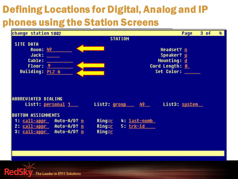 Defining Locations for Digital, Analog and IP phones using the Station Screens