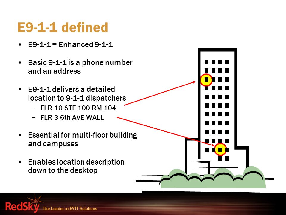 E9-1-1 defined E9-1-1 = Enhanced 9-1-1