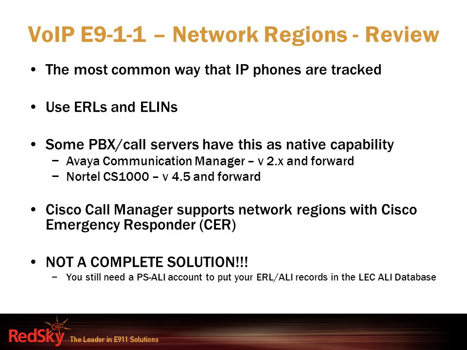 VoIP E9-1-1 – Network Regions - Review
