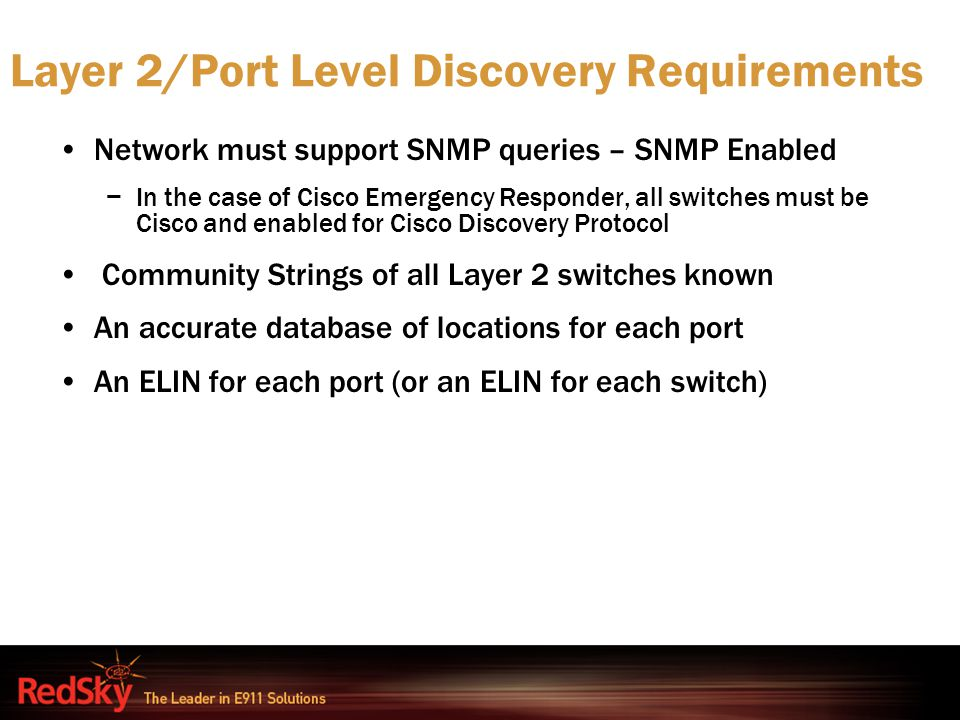 Layer 2/Port Level Discovery Requirements