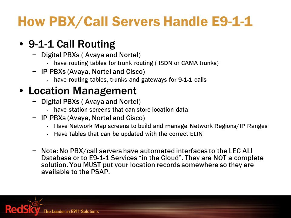 How PBX/Call Servers Handle E9-1-1