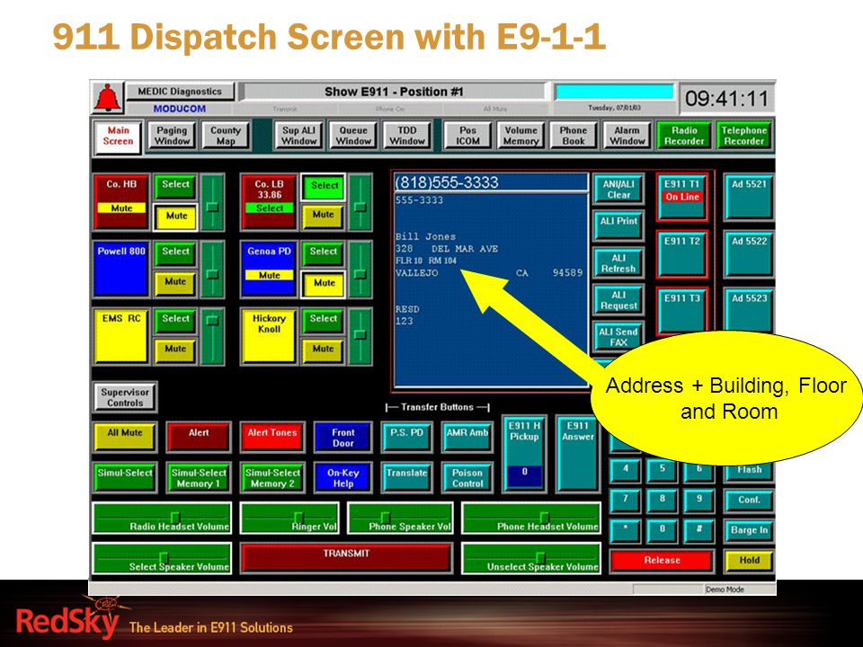911 Dispatch Screen with E9-1-1