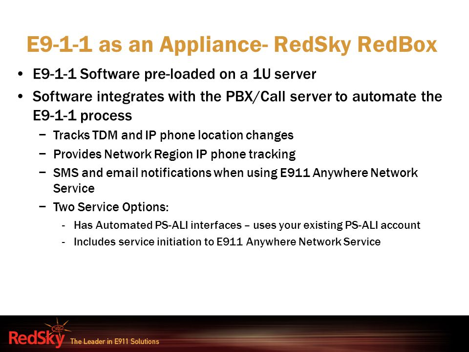 E9-1-1 as an Appliance- RedSky RedBox