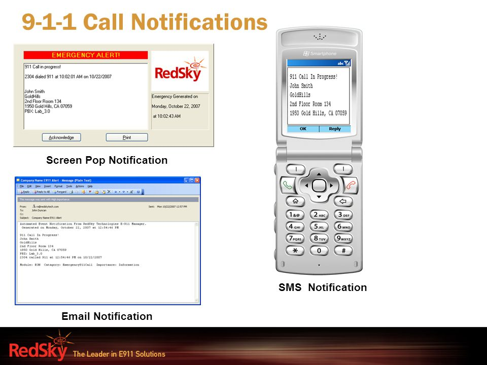 9-1-1 Call Notifications Screen Pop Notification SMS Notification