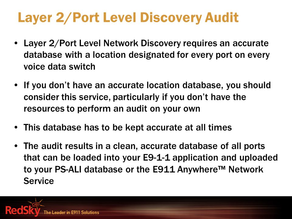 Layer 2/Port Level Discovery Audit