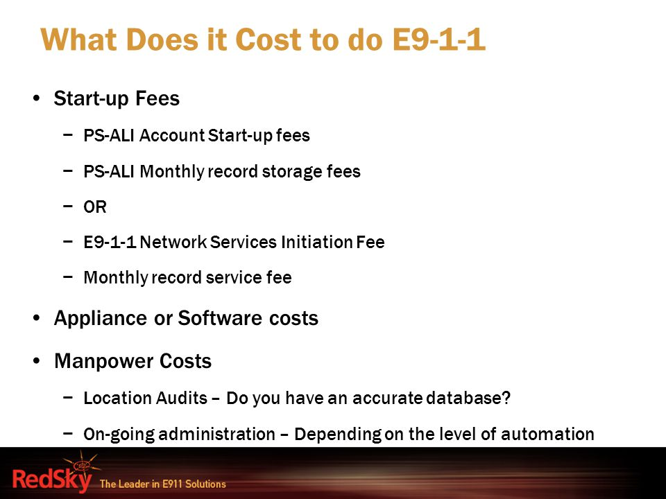 What Does it Cost to do E9-1-1