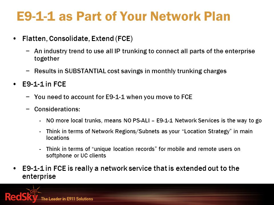 E9-1-1 as Part of Your Network Plan