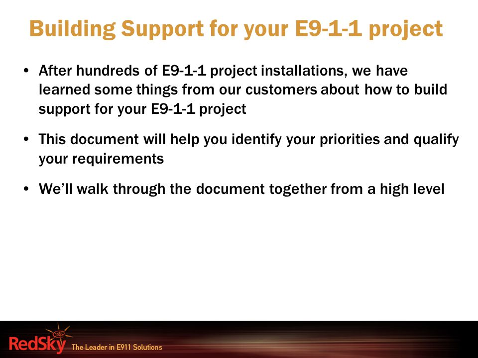 Building Support for your E9-1-1 project