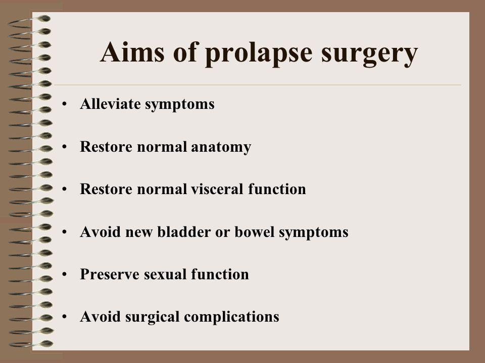 Aims of prolapse surgery