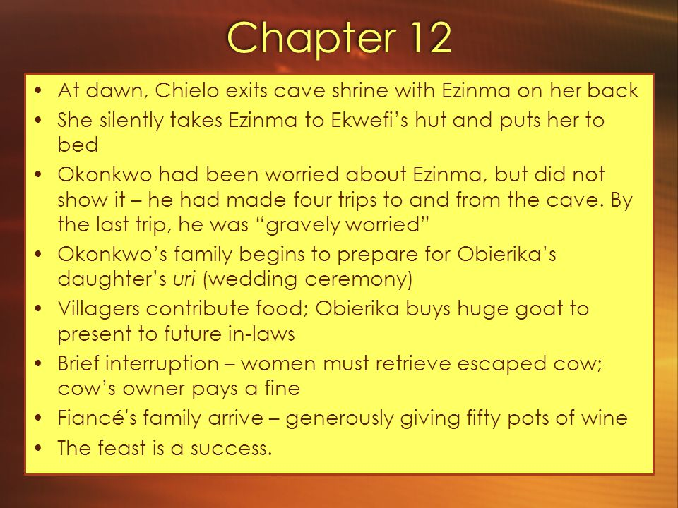 Chapter 12 At dawn, Chielo exits cave shrine with Ezinma on her back