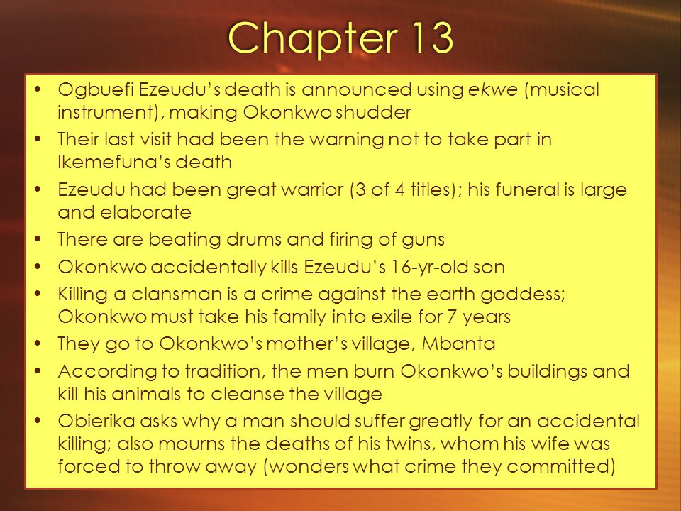 Chapter 13 Ogbuefi Ezeudu's death is announced using ekwe (musical instrument), making Okonkwo shudder.