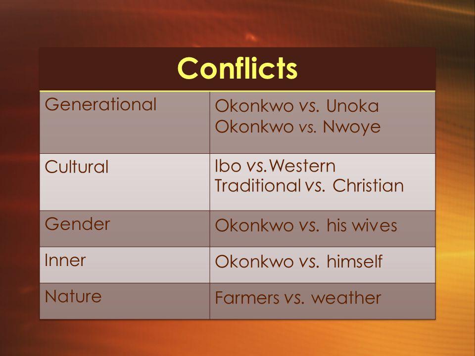 Conflicts Generational Okonkwo vs. Unoka Okonkwo vs. Nwoye Cultural