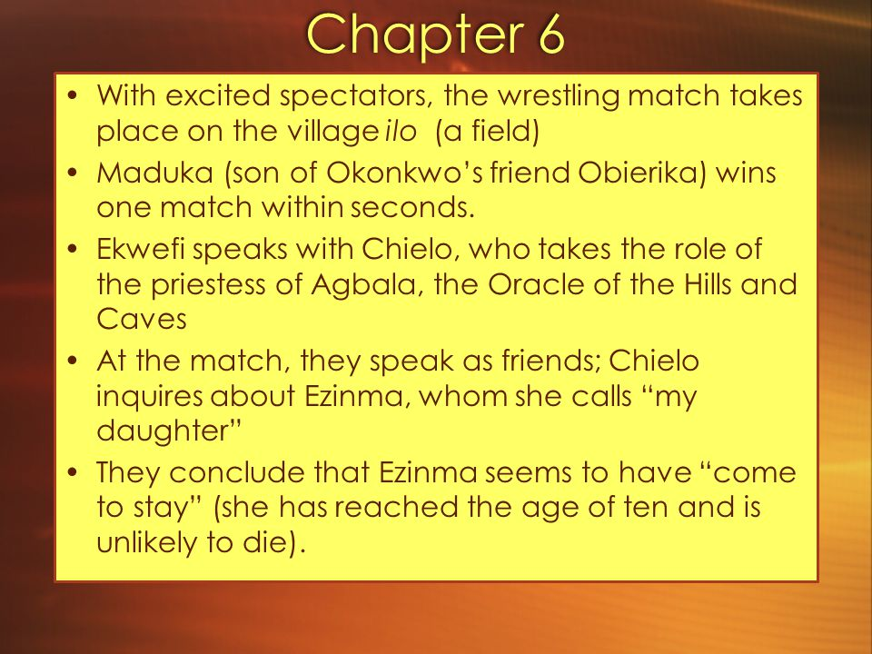 Chapter 6 With excited spectators, the wrestling match takes place on the village ilo (a field)