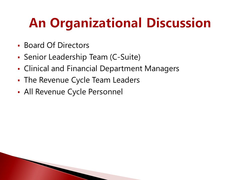 An Organizational Discussion