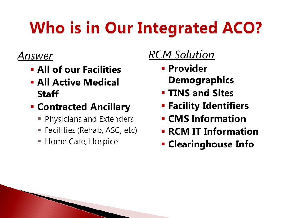 Who is in Our Integrated ACO