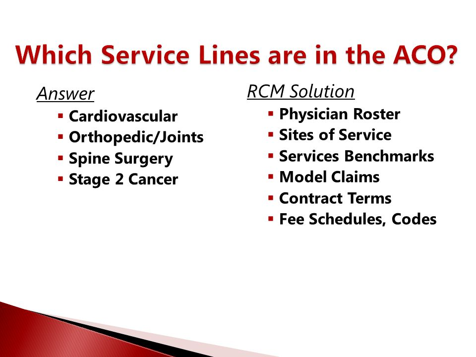 Which Service Lines are in the ACO