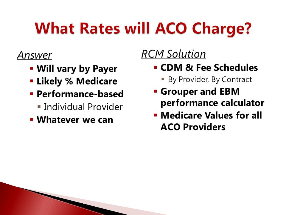 What Rates will ACO Charge