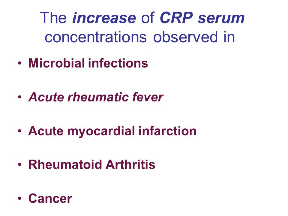 The increase of CRP serum concentrations observed in