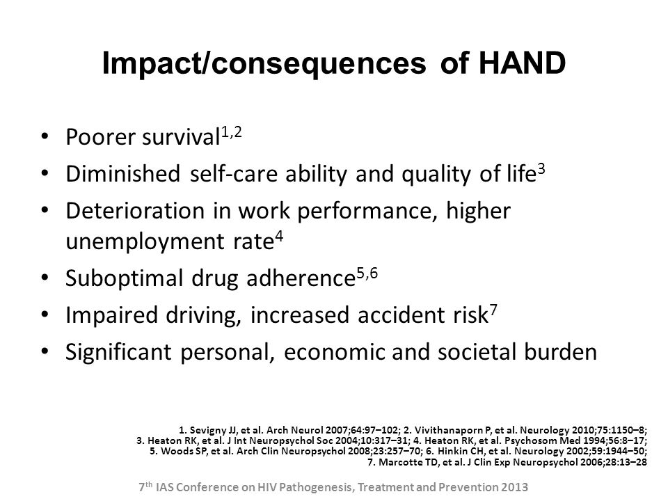 Impact/consequences of HAND