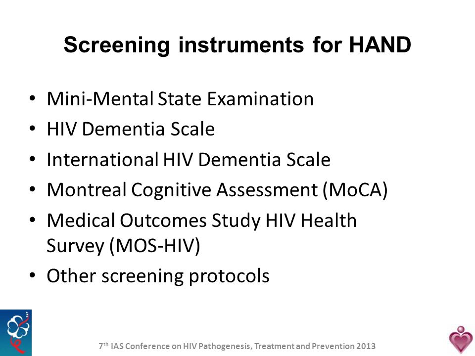 Screening instruments for HAND