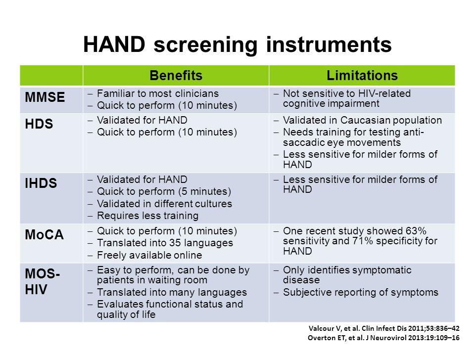 HAND screening instruments