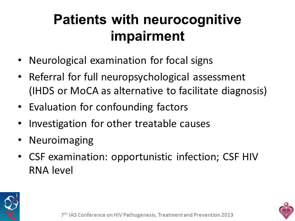 Patients with neurocognitive impairment