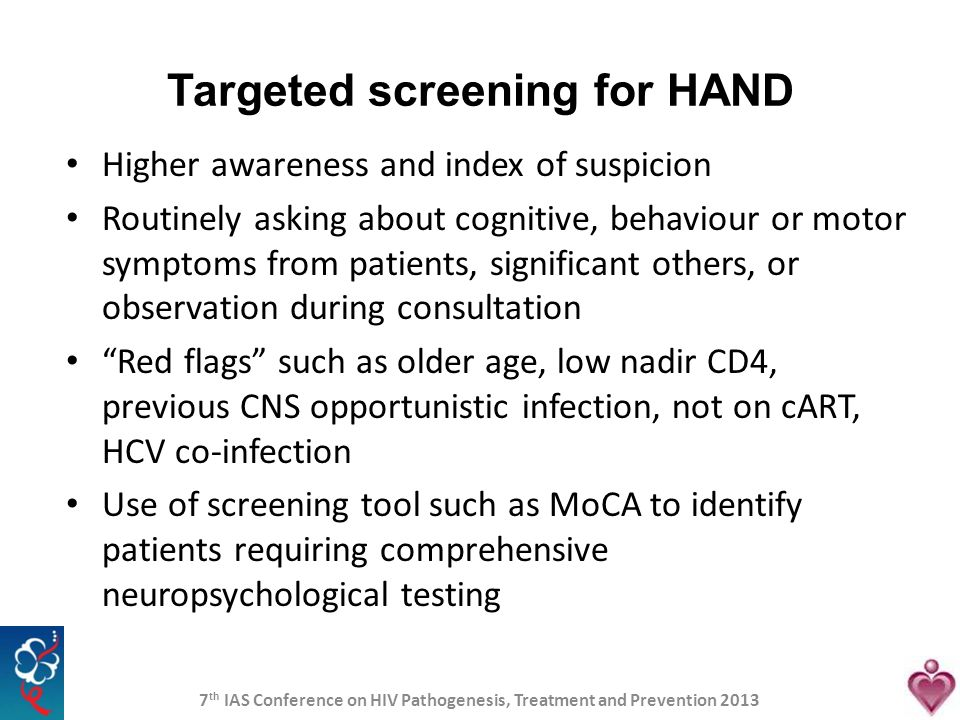 Targeted screening for HAND