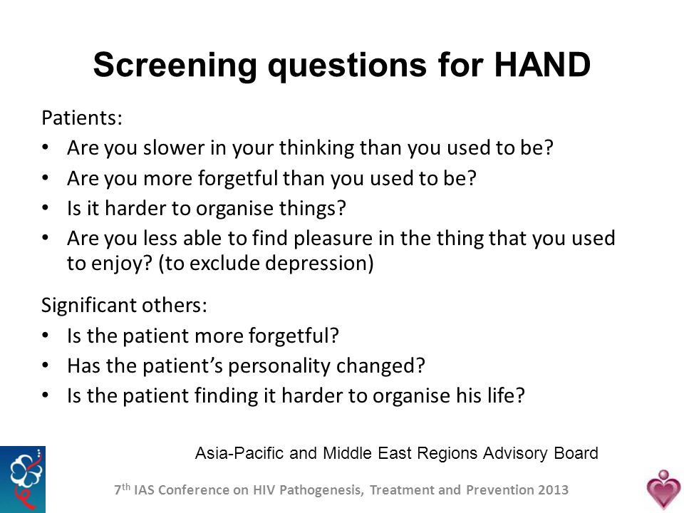 Screening questions for HAND
