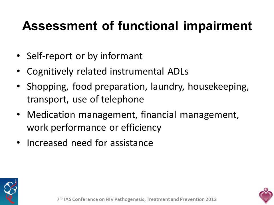 Assessment of functional impairment
